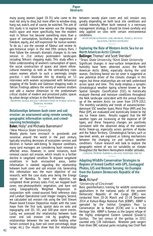 Programme de la conference SWAAG/AGC 2015 - Résumé des présentations