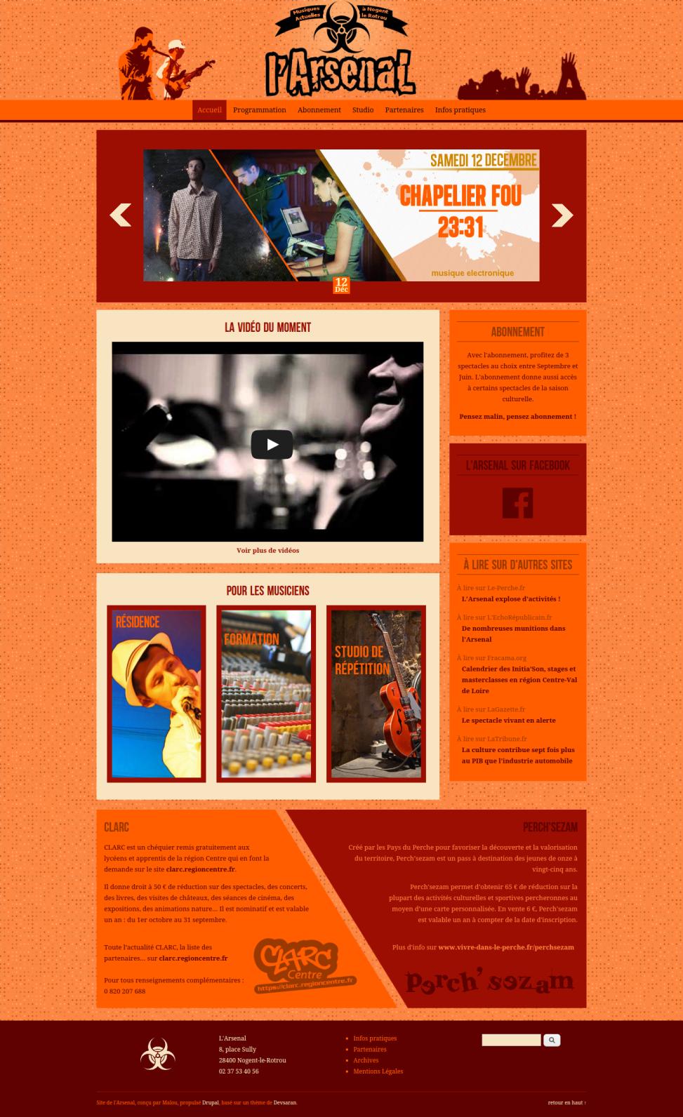 """Site Internet de la salle de concert """"l'Arsenal"""" - Page d'accueil"""