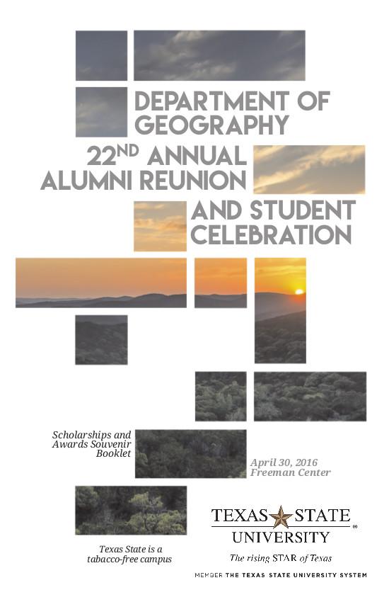 Programme des célébrations annuelles du département de géographie de Texas State University - Couverture