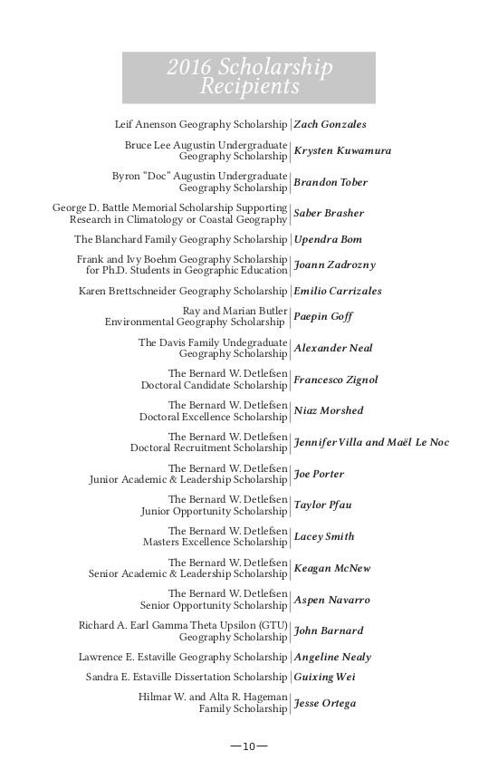 département de géographie de Texas State University - Liste des récompenses