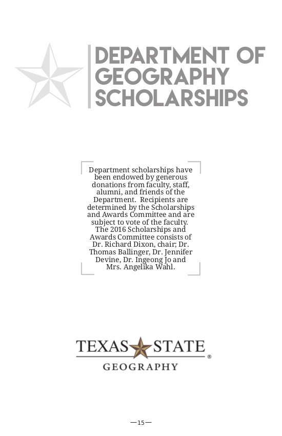 département de géographie de Texas State University - Page section