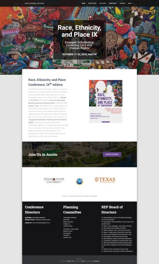 Site internet de la conference REP - Page d'accueil