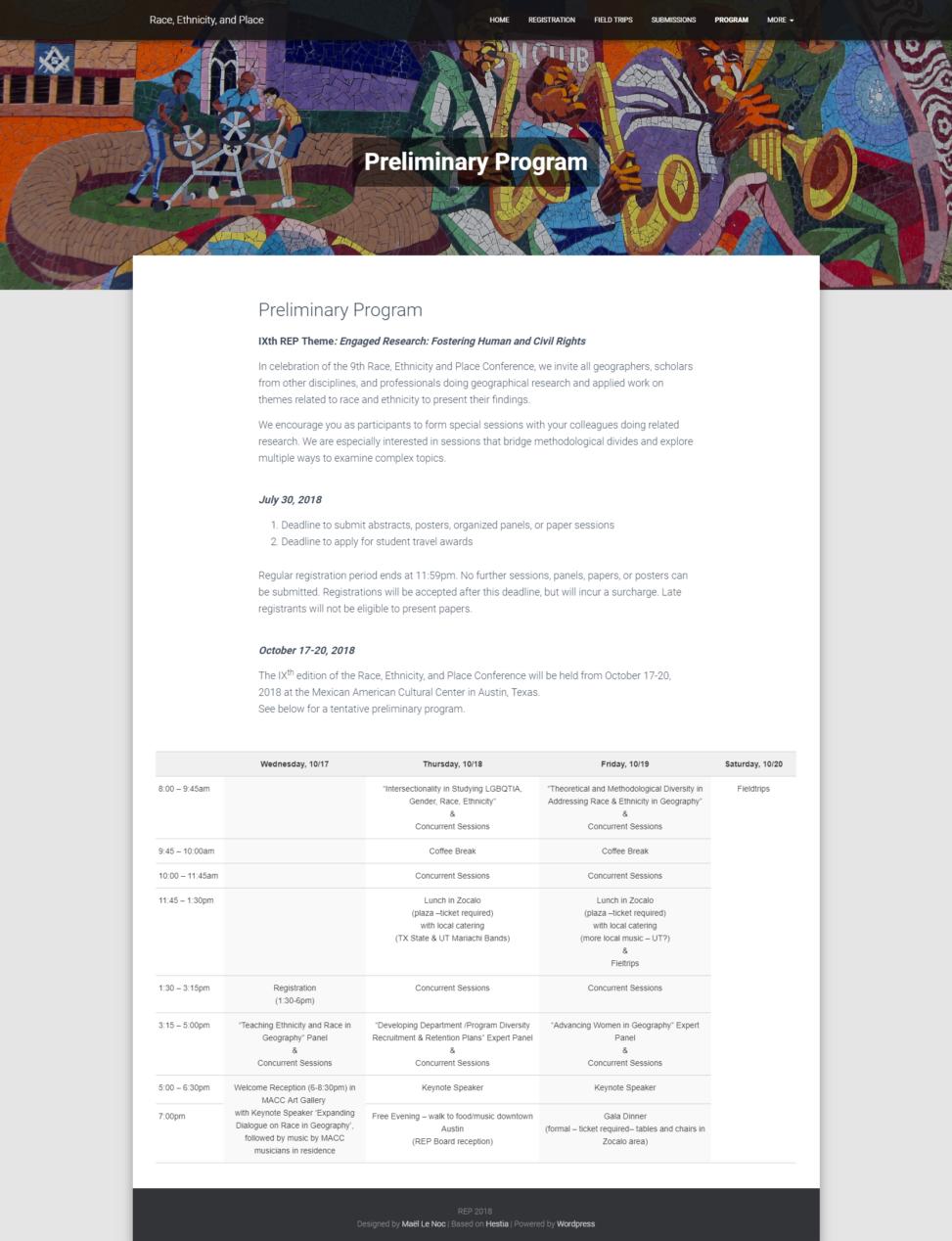 Site internet de la conference REP - Programme