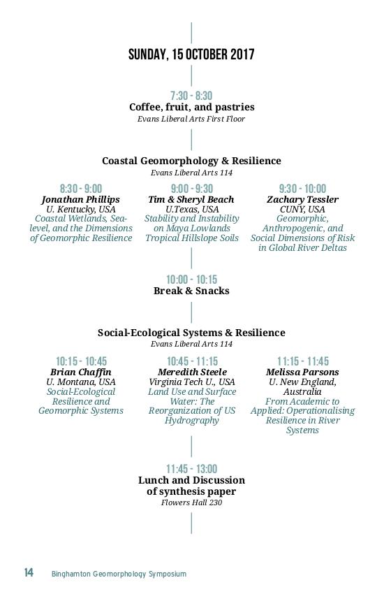 """Programme du """"Binghamton Geomorphology Symposium"""" - Programme détaillé"""